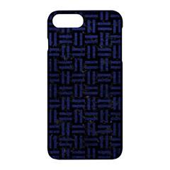 Woven1 Black Marble & Blue Leather Apple Iphone 7 Plus Hardshell Case by trendistuff