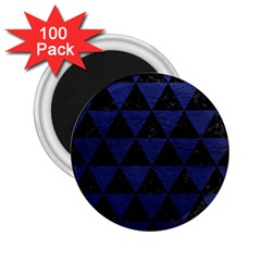 Triangle3 Black Marble & Blue Leather 2 25  Magnet (100 Pack)  by trendistuff