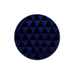 Triangle3 Black Marble & Blue Leather Rubber Coaster (round) by trendistuff