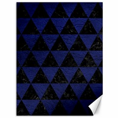 Triangle3 Black Marble & Blue Leather Canvas 36  X 48  by trendistuff