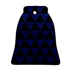 Triangle3 Black Marble & Blue Leather Bell Ornament (two Sides) by trendistuff