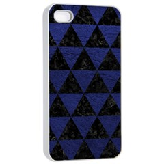Triangle3 Black Marble & Blue Leather Apple Iphone 4/4s Seamless Case (white) by trendistuff