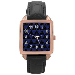 Triangle3 Black Marble & Blue Leather Rose Gold Leather Watch  by trendistuff