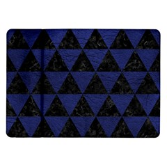 Triangle3 Black Marble & Blue Leather Samsung Galaxy Tab 10 1  P7500 Flip Case by trendistuff