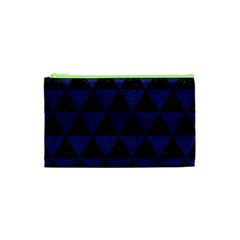 Triangle3 Black Marble & Blue Leather Cosmetic Bag (xs) by trendistuff