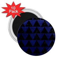Triangle2 Black Marble & Blue Leather 2 25  Magnet (10 Pack) by trendistuff