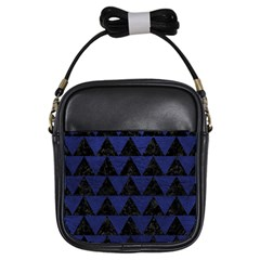 Triangle2 Black Marble & Blue Leather Girls Sling Bag by trendistuff
