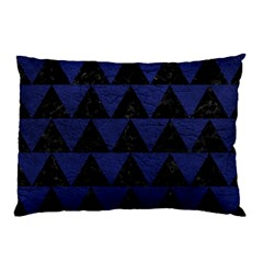 Triangle2 Black Marble & Blue Leather Pillow Case (two Sides) by trendistuff