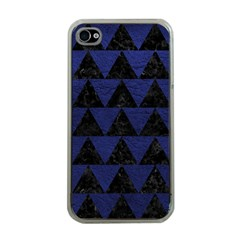 Triangle2 Black Marble & Blue Leather Apple Iphone 4 Case (clear) by trendistuff