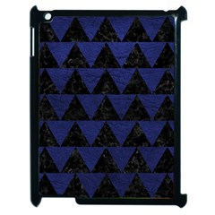 Triangle2 Black Marble & Blue Leather Apple Ipad 2 Case (black) by trendistuff