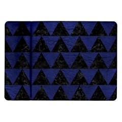 Triangle2 Black Marble & Blue Leather Samsung Galaxy Tab 10 1  P7500 Flip Case by trendistuff