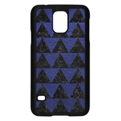 Triangle2 Black Marble & Blue Leather Samsung Galaxy S5 Case (black) by trendistuff