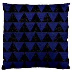 Triangle2 Black Marble & Blue Leather Large Flano Cushion Case (one Side) by trendistuff