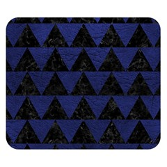 Triangle2 Black Marble & Blue Leather Double Sided Flano Blanket (small) by trendistuff