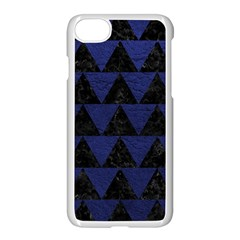 Triangle2 Black Marble & Blue Leather Apple Iphone 7 Seamless Case (white) by trendistuff