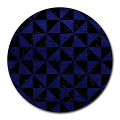Triangle1 Black Marble & Blue Leather Round Mousepad