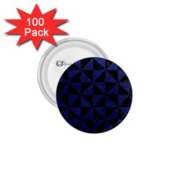 Triangle1 Black Marble & Blue Leather 1 75  Button (100 Pack)  by trendistuff