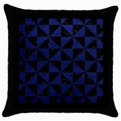 Triangle1 Black Marble & Blue Leather Throw Pillow Case (black) by trendistuff