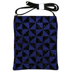 Triangle1 Black Marble & Blue Leather Shoulder Sling Bag by trendistuff