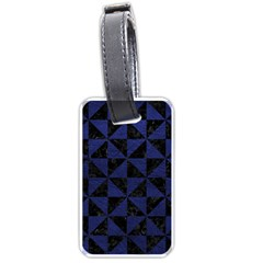 Triangle1 Black Marble & Blue Leather Luggage Tag (one Side) by trendistuff