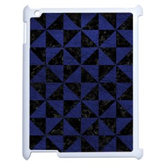 Triangle1 Black Marble & Blue Leather Apple Ipad 2 Case (white) by trendistuff