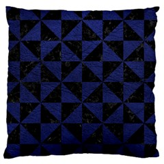 Triangle1 Black Marble & Blue Leather Large Cushion Case (two Sides) by trendistuff