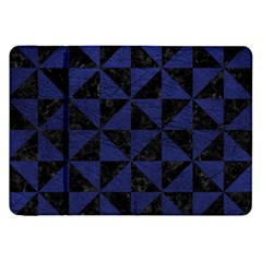Triangle1 Black Marble & Blue Leather Samsung Galaxy Tab 8 9  P7300 Flip Case by trendistuff