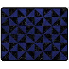 Triangle1 Black Marble & Blue Leather Double Sided Fleece Blanket (medium) by trendistuff