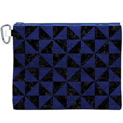 Triangle1 Black Marble & Blue Leather Canvas Cosmetic Bag (xxxl) by trendistuff