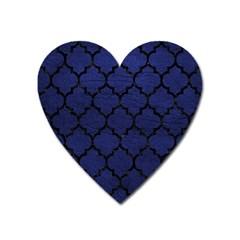 Tile1 Black Marble & Blue Leather (r) Magnet (heart) by trendistuff