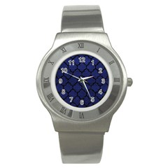 Tile1 Black Marble & Blue Leather (r) Stainless Steel Watch by trendistuff