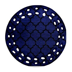 Tile1 Black Marble & Blue Leather (r) Round Filigree Ornament (two Sides) by trendistuff