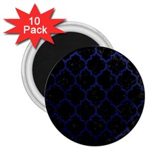 Tile1 Black Marble & Blue Leather 2 25  Magnet (10 Pack) by trendistuff
