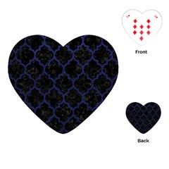 Tile1 Black Marble & Blue Leather Playing Cards (heart) by trendistuff