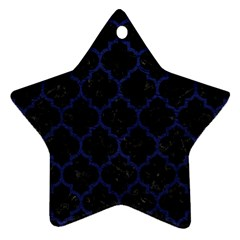 Tile1 Black Marble & Blue Leather Star Ornament (two Sides) by trendistuff