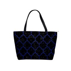 Tile1 Black Marble & Blue Leather Classic Shoulder Handbag by trendistuff