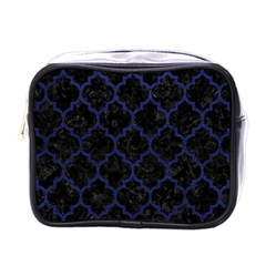 Tile1 Black Marble & Blue Leather Mini Toiletries Bag (one Side) by trendistuff