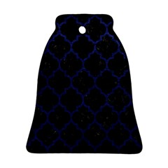 Tile1 Black Marble & Blue Leather Bell Ornament (two Sides) by trendistuff