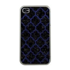 Tile1 Black Marble & Blue Leather Apple Iphone 4 Case (clear)