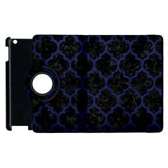 Tile1 Black Marble & Blue Leather Apple Ipad 3/4 Flip 360 Case by trendistuff