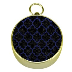 Tile1 Black Marble & Blue Leather Gold Compass by trendistuff