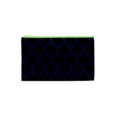 Tile1 Black Marble & Blue Leather Cosmetic Bag (xs) by trendistuff