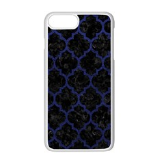 Tile1 Black Marble & Blue Leather Apple Iphone 7 Plus White Seamless Case by trendistuff