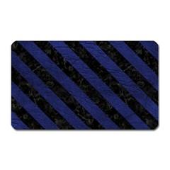Stripes3 Black Marble & Blue Leather (r) Magnet (rectangular) by trendistuff