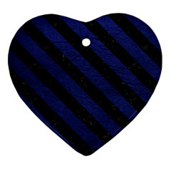 Stripes3 Black Marble & Blue Leather (r) Heart Ornament (two Sides) by trendistuff