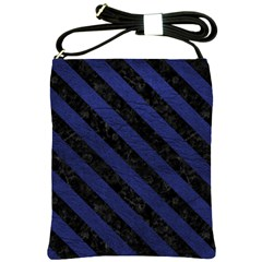 Stripes3 Black Marble & Blue Leather (r) Shoulder Sling Bag by trendistuff
