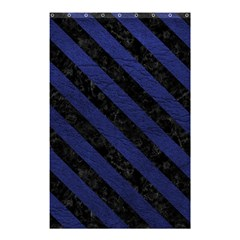 Stripes3 Black Marble & Blue Leather (r) Shower Curtain 48  X 72  (small) by trendistuff