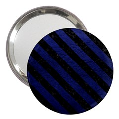 Stripes3 Black Marble & Blue Leather (r) 3  Handbag Mirror by trendistuff