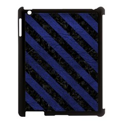 Stripes3 Black Marble & Blue Leather (r) Apple Ipad 3/4 Case (black) by trendistuff