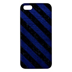 Stripes3 Black Marble & Blue Leather (r) Iphone 5s/ Se Premium Hardshell Case by trendistuff